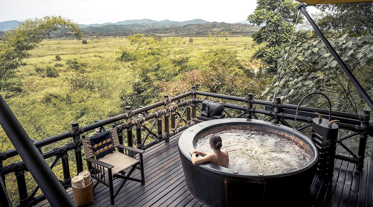 hotels with hot tubs-Four Seasons Tented Camp Golden Triangle-Chiang Rai-Thailand